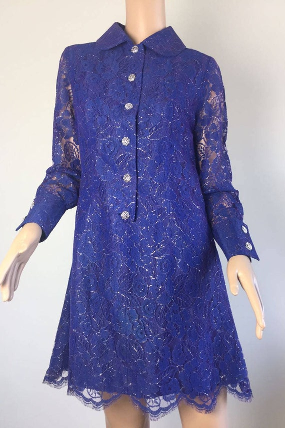 Blue Casual dress for women 60/'s mini dress Evening Blue dress Cocktail party dress Casual dress 60/'s party dress women Ready to ship.
