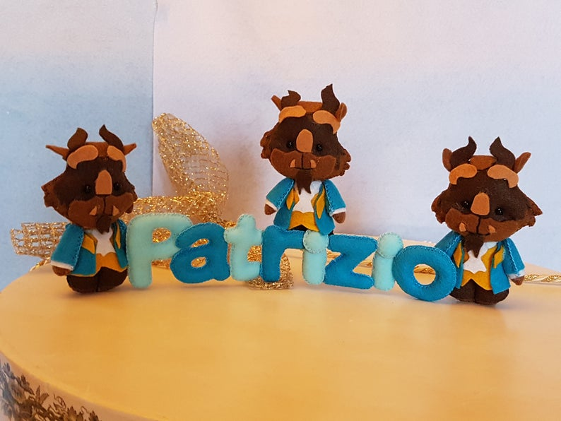 Beauty and the beast, Name Banner, felt letters, kids room decor, baby  name, with Prince, belle and beast  Original gift  Made in Italy