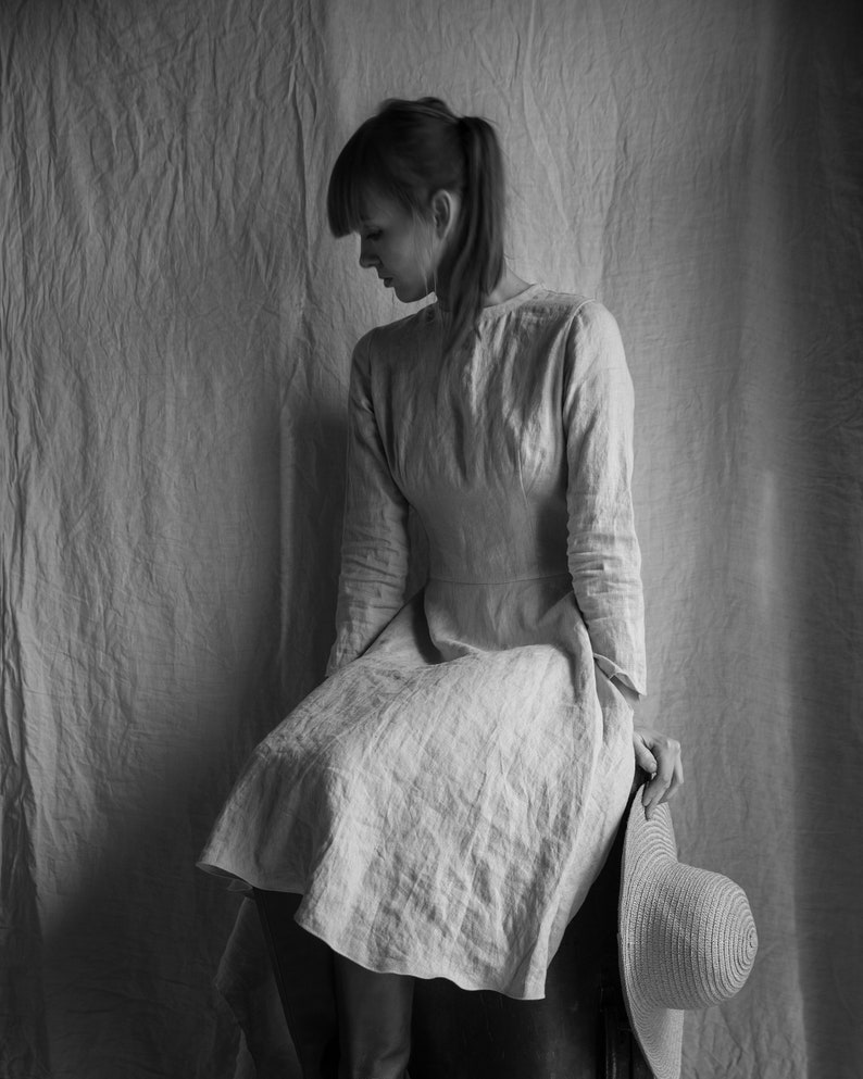 sand color washed linen dress Dress MATHILDE