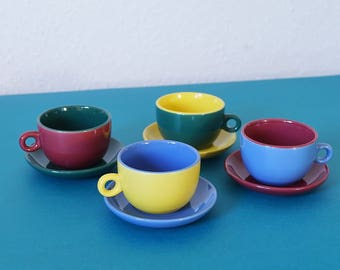 Coffee cups espresso cups, set 4 colourful cups with saucers, Germany, Europe 90s, tea Coffee espresso cup, retro ceramics, 80s-90s