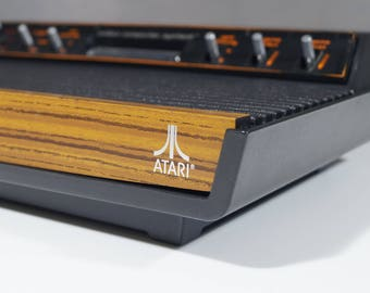 Legendary Atari 2600, woodgrain (PAL), CX 2600 p, 6 switches, joystick and game (pole position), retro game console, gift