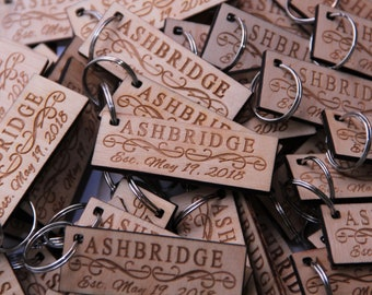 25 Wooden keychains - custom engraved - approx. 3 sq. inches