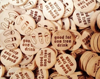 """100 Custom wood coins 1"""" - engraved - 1/8"""" thick"""