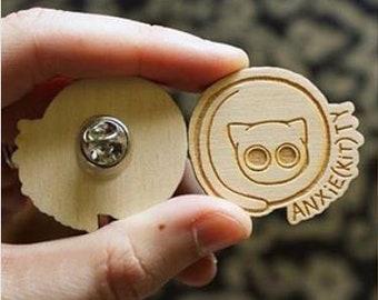 Wooden pins - custom engraved - minimum of 25