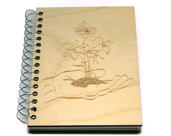 """Customized engraved wooden notebooks - 5 small notebooks 4"""" x 5.5"""""""