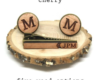 Wood monogrammed cufflinks and initials on tieclip - personalized, custom