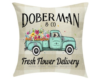 Doberman Fresh Flower Delivery Pillow Cover ~ Mother's Day Buffalo Plaid 18 x 18 ~Cover Only