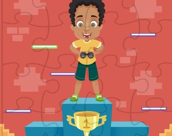 Jigsaw Puzzle | African American Jigsaw Puzzle | Video Gamer Puzzle | African American Gamer Puzzle | Kids Personalized Puzzle