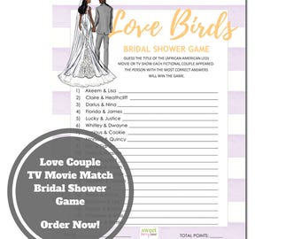 love birds bridal shower game african american bridal shower game download guess the movie bridal shower game purple