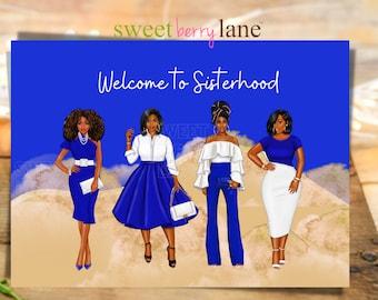 Welcome to sisterhood card - Zeta Phi Beta Sorority Inspired Greeting Card - Probate Crossing Gift - ZPhiB Congratulations Soror notecard