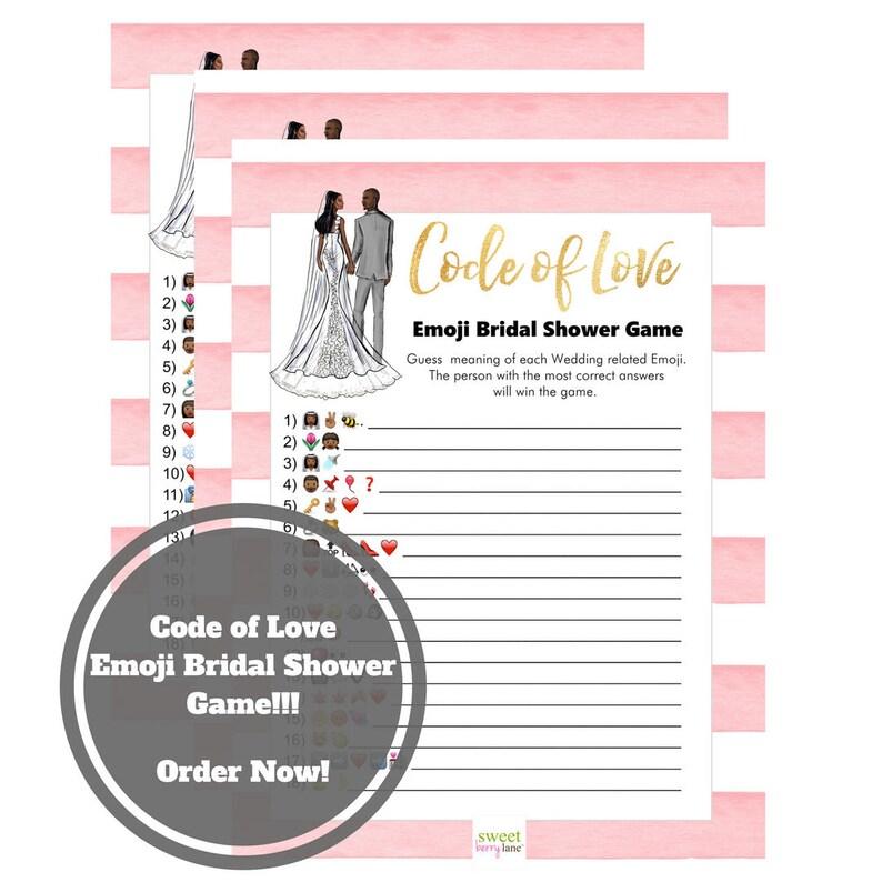 Wedding Emoji Bridal Shower Game  African American Bridal image 0