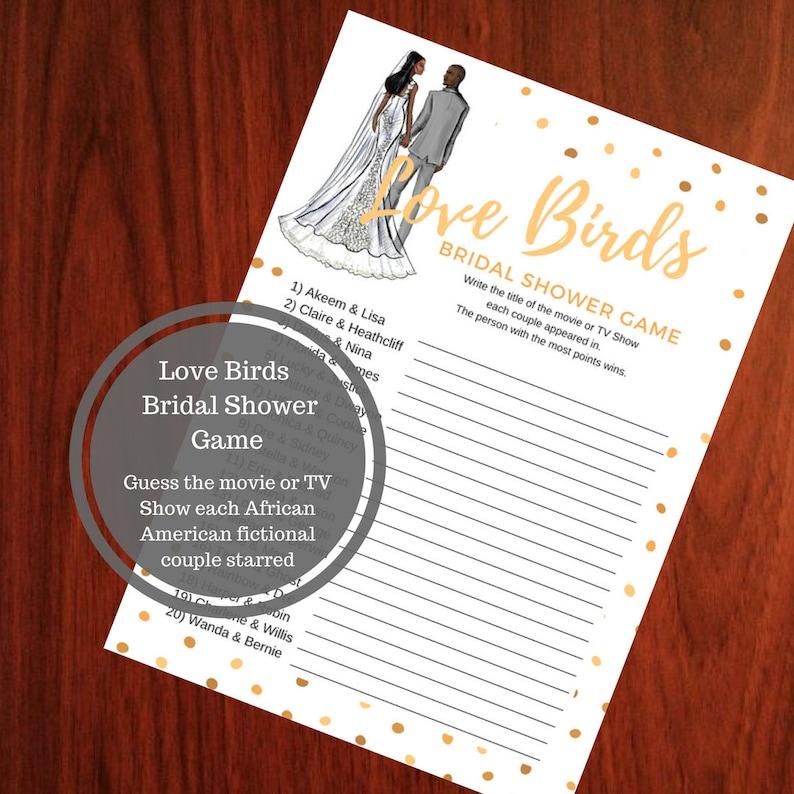Love Birds Bridal Shower Game  African American Bridal Shower image 0