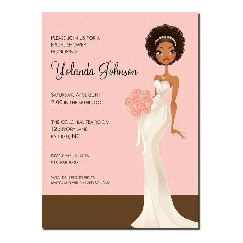 African American Bridal Shower Invitation   African American image 0