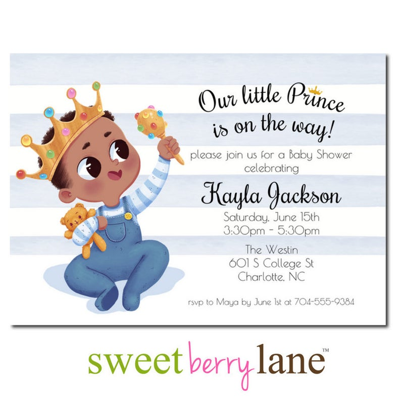 African American Baby Shower Invitation  Little Prince Baby image 0