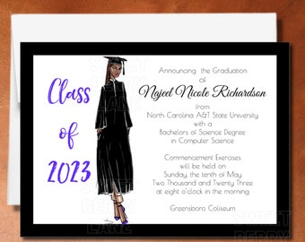 African American Grad, Black Graduation Announcement, Grad Announcement for Black Women, HBCU Grad, Black graduation invitation, Afro Grad