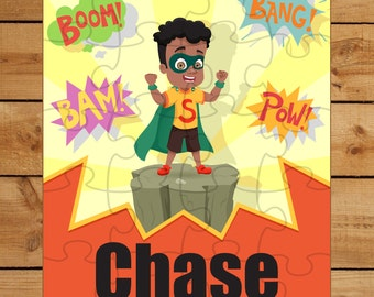 African American Child Puzzle |  Black Superhero Puzzle | African American Superhero Puzzle | Christmas Gift for kids