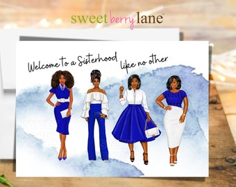 Welcome to sisterhood greeting cards - Zeta Phi Beta Sorority - Finer Woman - Congratulations Soror note card - Black Sorority probate gifts