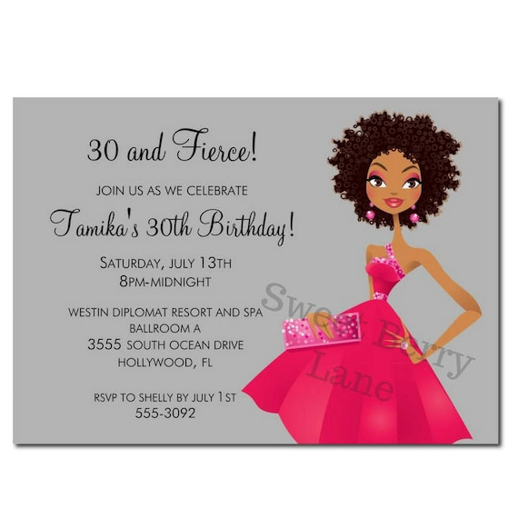 African American Party Invitation Birthday
