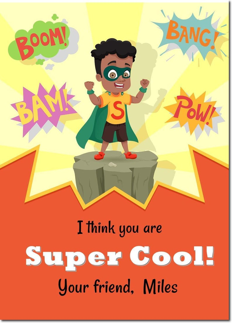 African American Superhero Classroom Valentines  Personalized image 0