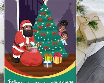 Black Santa Christmas Card | African American Christmas Card | African American Santa Card | Black Santa Greeting | Boxed Set