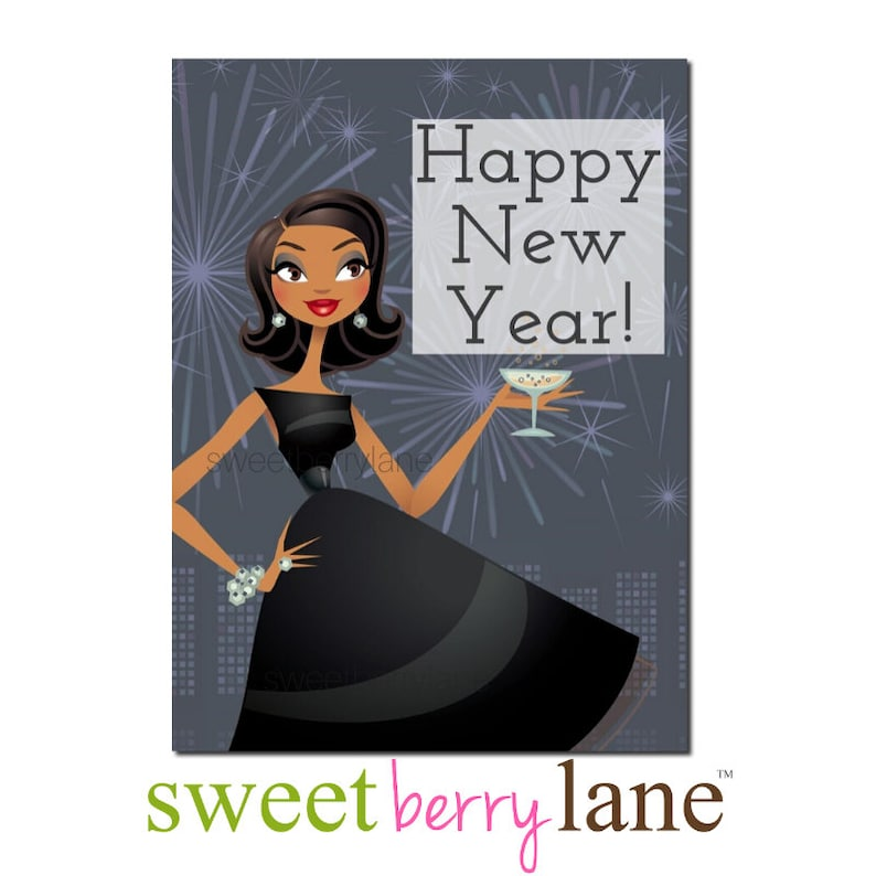 African American New Year Card  African American Holiday Card image 0