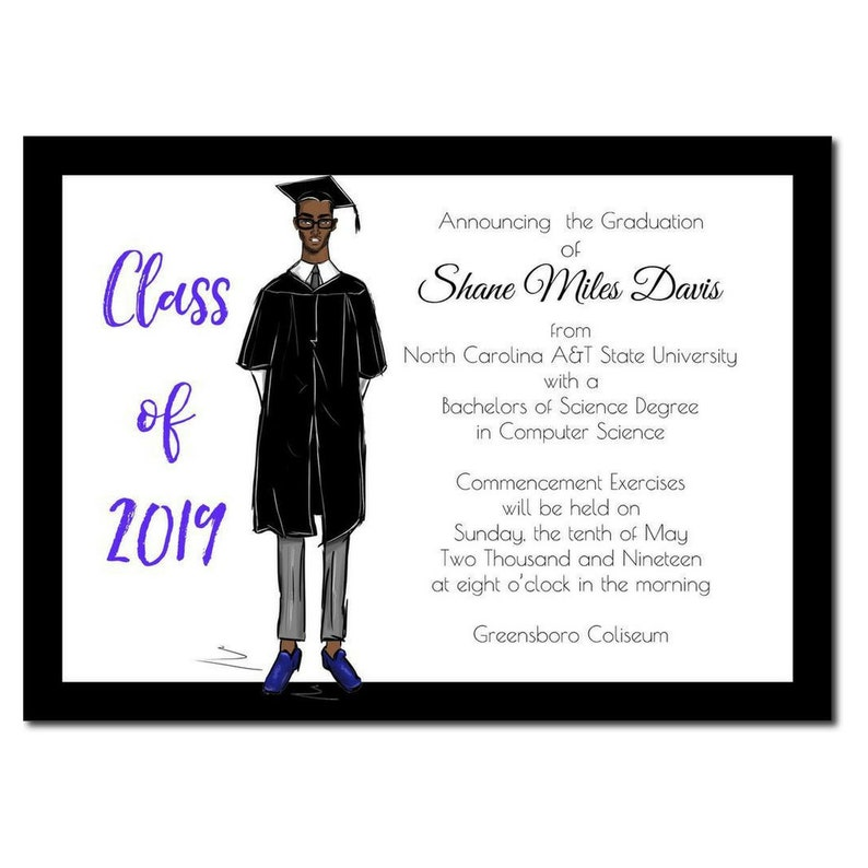 Male African American Graduation Announcement  High School image 0