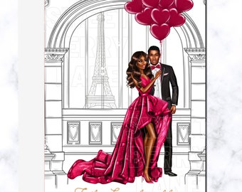 African American Anniversary Card | Anniversary Greeting Card for Black Couples | Black Love Valentine's  Card  | Free Shipping