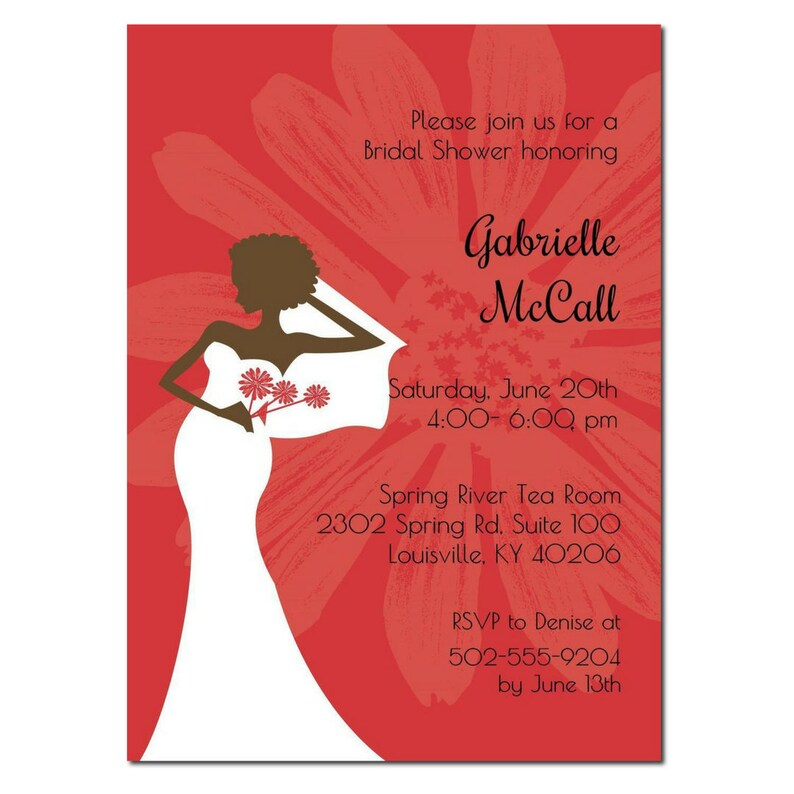 African American Bridal Shower Invitation  Red Chic  image 0