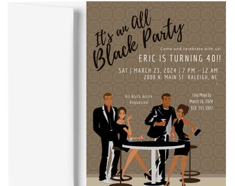 African American All Black Party Invitation | African American Birthday Party Invitation | African American Party Invite | Adult Birthday