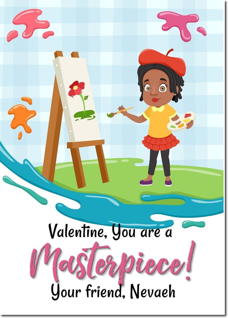 African American  Classroom Valentines  Girls Valentines Day image 0