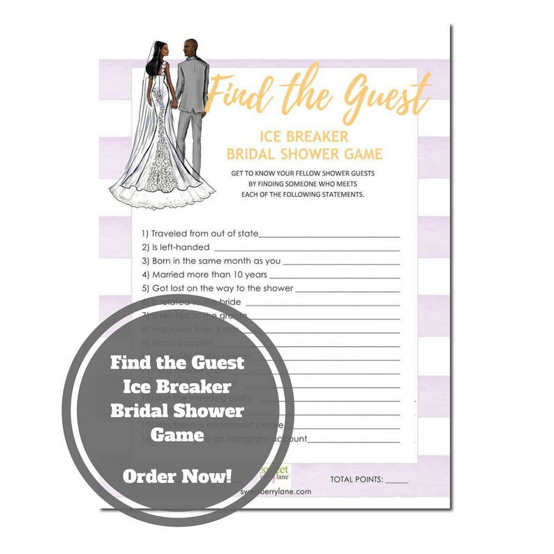 Find the Guest Bridal Shower Game  African American Bridal image 0