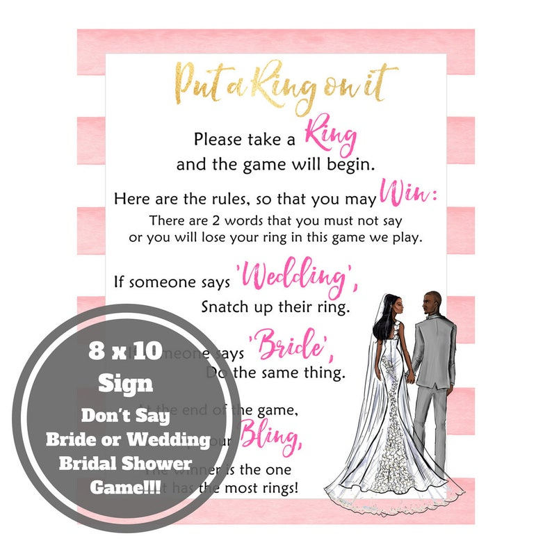 Dont Say Bride Bridal Shower Game  African American Bridal image 0