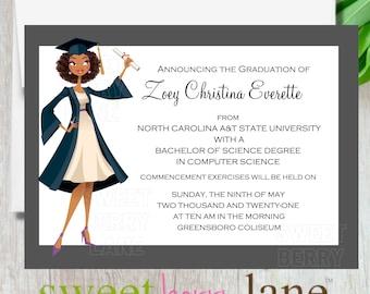 Graduation Announcement for Black Women | African American Graduation Invitation | Black Girl Graduation Invite | Black College Graduation