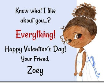 African American Classroom Valentines - Personalized Kids Valentines -  African American Valentines Day Cards - Girl Valentines