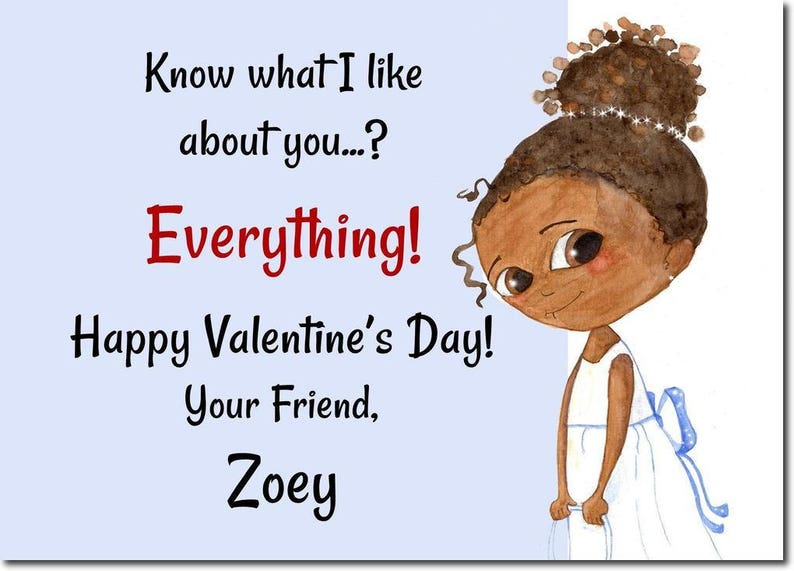 African American Classroom Valentines  Personalized Kids image 0
