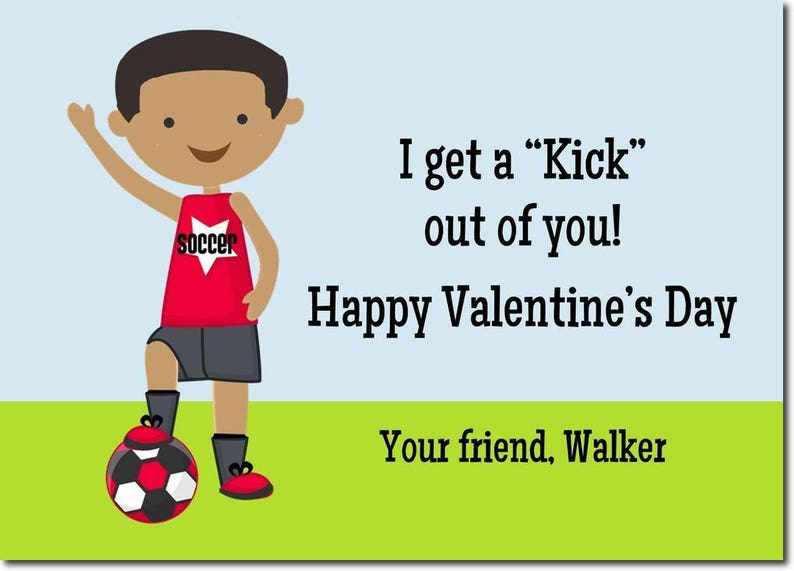 African American Soccer Classroom Valentines  Personalized image 0