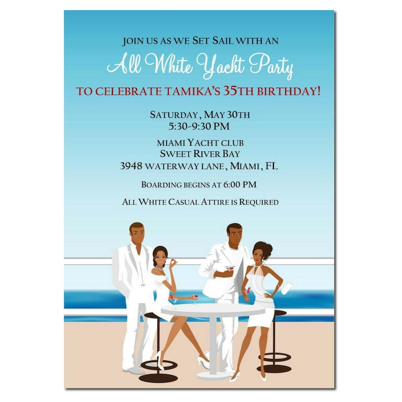 African American All White Yacht Party Invitation  African image 0