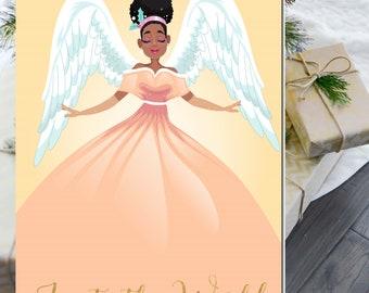 African American Christmas Card | Black Angel Holiday Card | Angel Joy to the World Xmas Card | Black Christmas Card-Angel | Boxed Set
