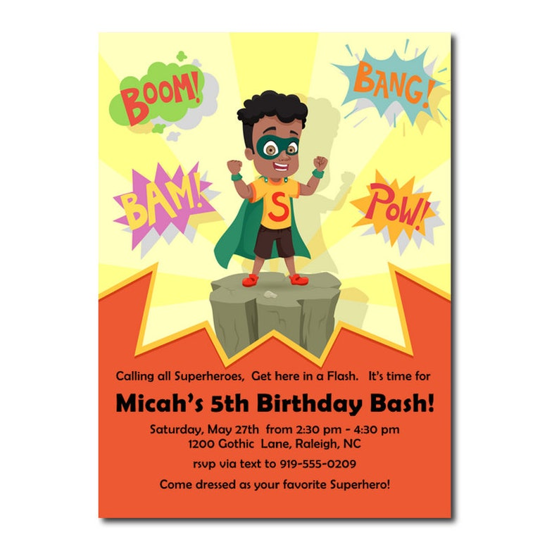 African American Birthday Party Superhero