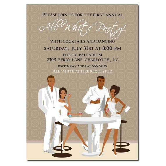African American All White Party Invitation African