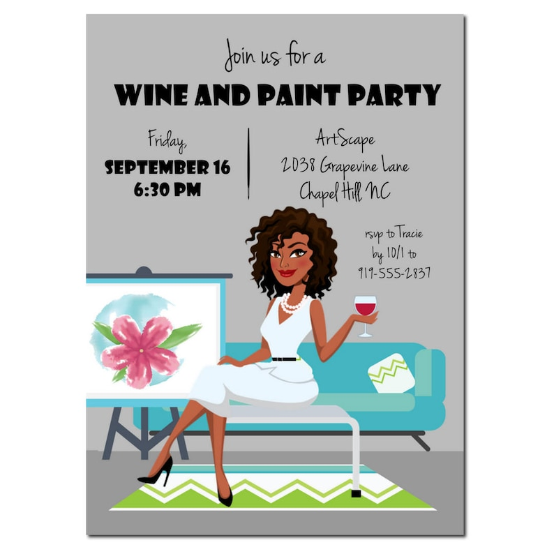 Wine and Paint Party Invitation  African American Party image 0