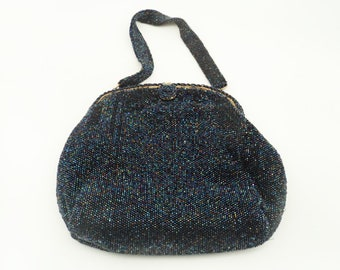 Spectacular vintage blue irridescent beaded handbag bade in Belgium excusively for Saks 5th Ave