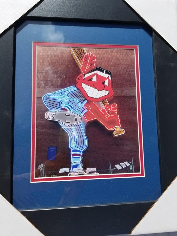 Cleveland Indians Chief Wahoo @ Municipal Stadium Double Matted and Framed NEW!