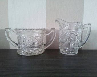 SALE ! Cut Crystal Sugar Candy Bowl & Jug of Creame/Milk_Art Nouveau_Mother's Day Present Gift