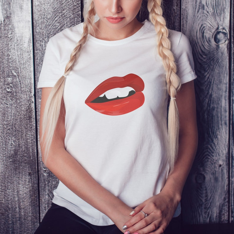 T Baiser Rouges Sexy LesEtsy De Shirt Lèvres VpqzMUSG