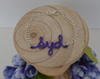 Personalized thread wrapped wire name or initials bracelet