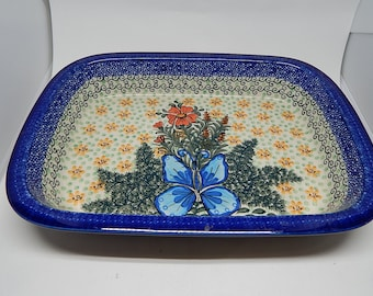 Traditional Polish Hand-Painted Square Casserole