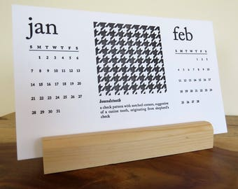 SALE! 2018 Letterpress Desk Calendar & Postcard Set | Wood Base | Black and White Patterns