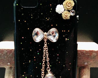 iPhone 6 plus glittered case with hanging crystal ball