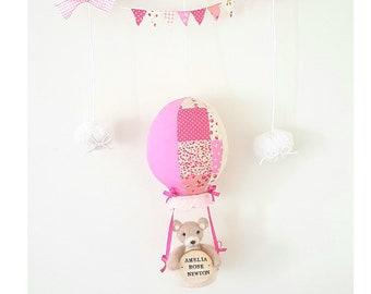 Personalised baby name hot air balloon mobile baby girl nursery